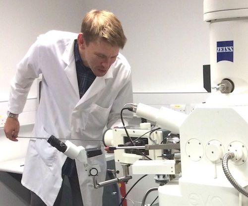 Dr Ray Wightman loads a biological sample via the Quorum PP3010T Cryo-SEM preparation system