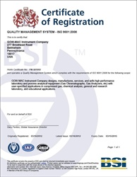 GOW-MAC Instrument Co ISO 9001:2008 Quality System Certification