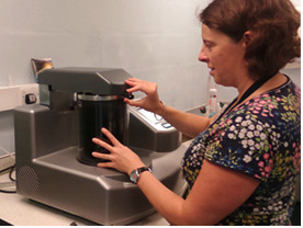 Patricia Goggin from the University of Southampton working with the Quorum Q150T ES coating system