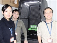Professor Yi Cao and two of his students with the JPK ForceRobot system in the Institute of Biophysics at Nanjing University