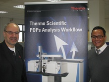 Hans Joachim Huebschmann, technology manager for GC/MS at Thermo Fisher Scientific (left) and Kyle D'Silva, product manager for GC/HRMS at Thermo Fisher Scientific (right)
