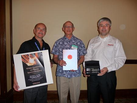 The inaugural Winter Conference Award in Plasma Spectrochemistry was presented to Ramon Barnes PhD (middle) at the Winter Conference on Plasma Spectrochemistry in January, 2010 by Gary M. Hieftje, Indiana University (left), and Lothar Rottmann, Thermo Fisher Scientific (right).