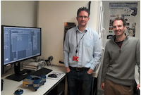 Richard Thorogate and Professor Guillaume Charras with their JPK NanoWizard®4 AFM system